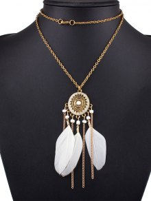 Medallion Feather Necklace