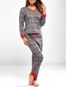 Christmas Snowflake Printed Pajamas - Light Gray S