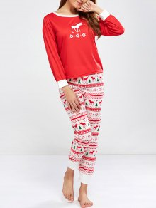 Christmas Deer Print Long Sleeve Pajamas