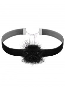 Faux Leather Velvet Ball Choker