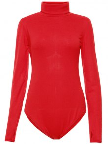 Gloved Sleeve Turtle Neck Bodysuit - Red L