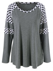 Polka Dot Patchwork Plus Size Tee