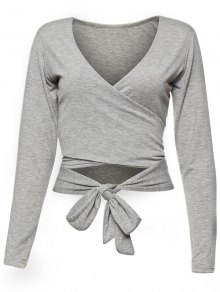 Long Sleeve Wrap Front Criss Cross Crop Top - Gray