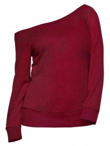 Pullover One Shoulder Sweatshirt - Burgundy M