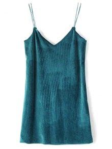 Strapy Velvet Mini Dress - Peacock Blue M