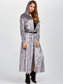 Hooded Maxi Velvet Coat With Pockets