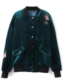 Embroidered Single Breasted Velvet Jacket - Peacock Blue L