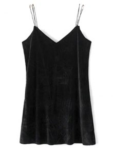 Strapy Velvet Mini Dress - Black S