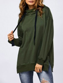 Drawstring Zipper Side Slit Hoodie - Army Green