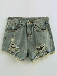 Ripped Denim Hot Pants - Light Blue