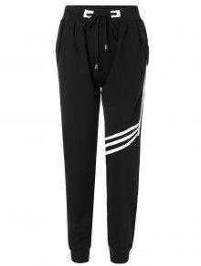 Striped Drawstring Sweatpants - Black