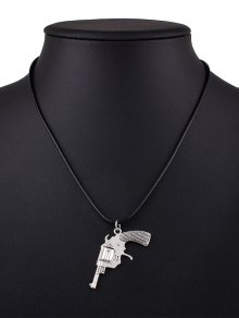 Pistol PU Leather Pendant Necklace