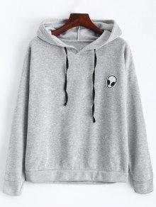 Sweatshirt à Capuche Et à Cordon De Serrage Avec Une Plaque En Motif à Extraterrestre - Gris