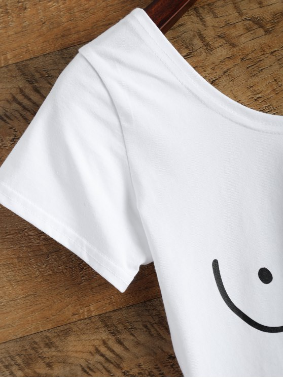 Tits Print Funny Jersey Crop Top - WHITE L Mobile