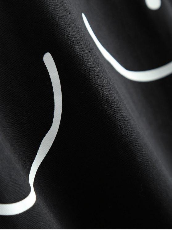 Tits Print Funny Jersey Crop Top - BLACK L Mobile