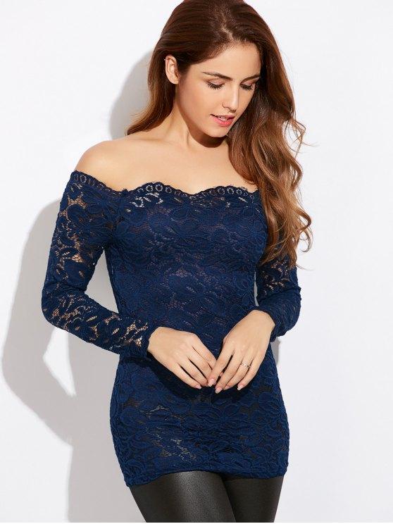 Fitting Off The Shoulder Lace Blouse - BLUE L Mobile