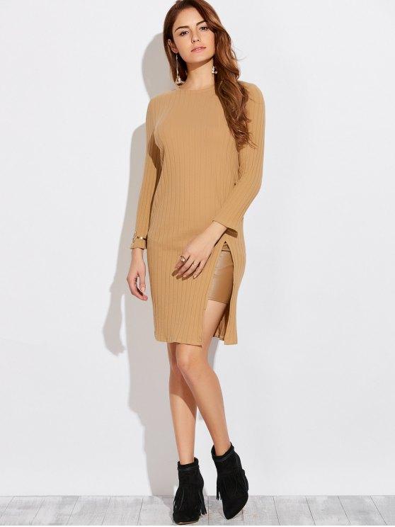 Vestido con Abertura Alta con Manga Larga - Caqui S