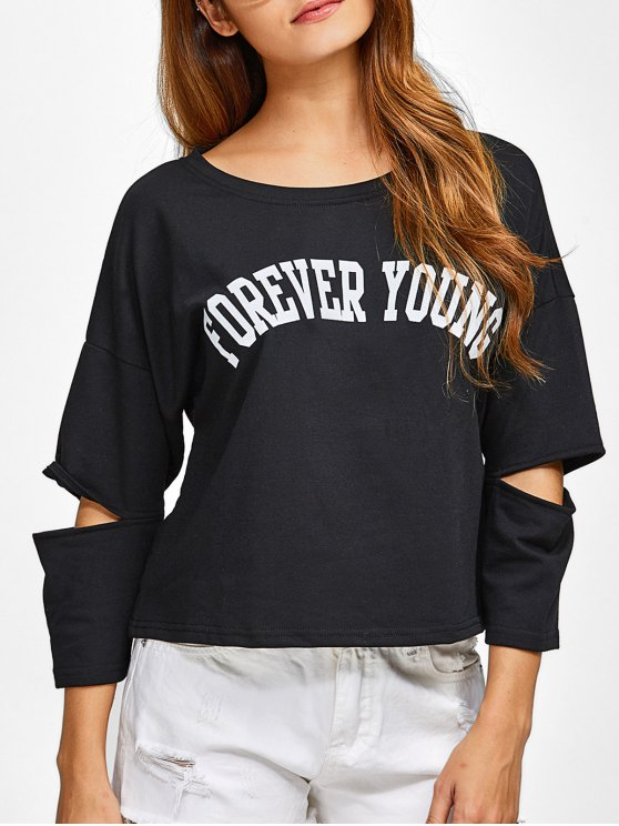 women Cut Out Forever Young Tee - BLACK S