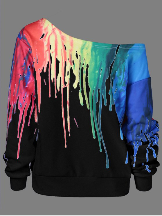 Skew Collar Dripping Paint Sweatshirt - BLACK 5XL Mobile