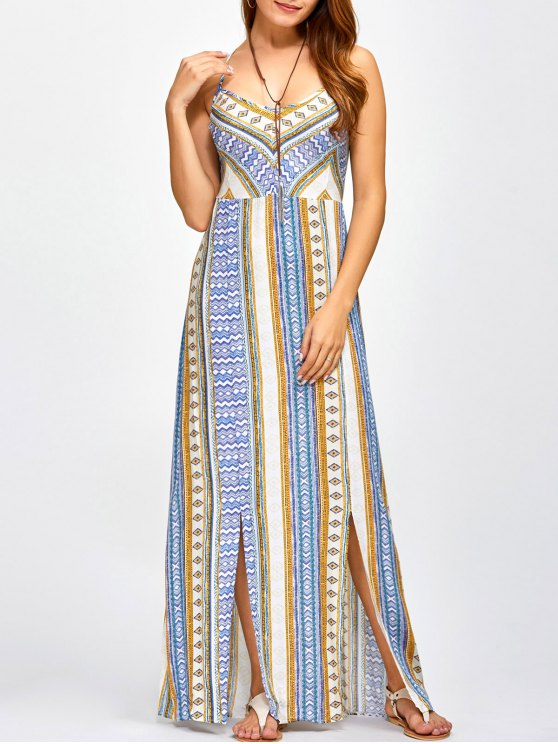 affordable Sweetheart Cami Maxi Bohemian Dress - BLUE L