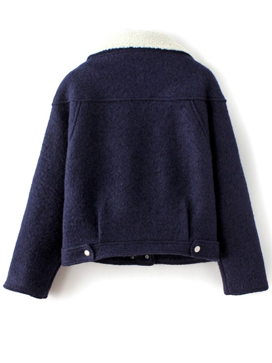 Wool Blend Borg Collar Jacket - PURPLISH BLUE L Mobile