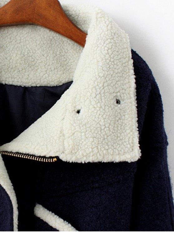 Wool Blend Borg Collar Jacket - PURPLISH BLUE L Mobile