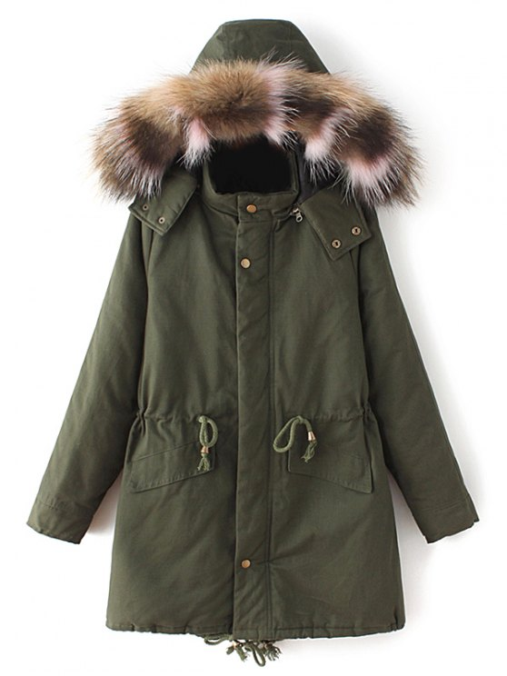 Quilted Faux Fur Collar Parka - ARMY GREEN S Mobile