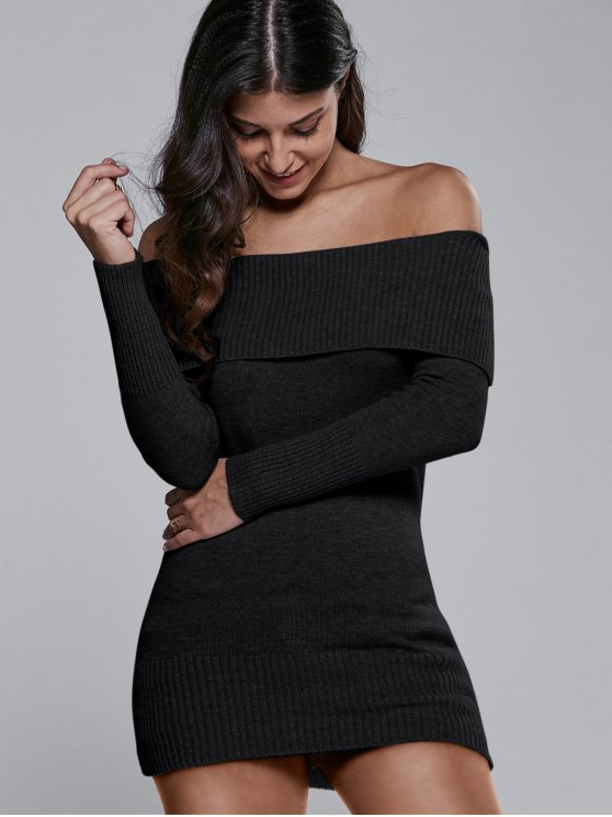 Off The Shoulder Slimming Sweater Dress - BLACK ONE SIZE Mobile