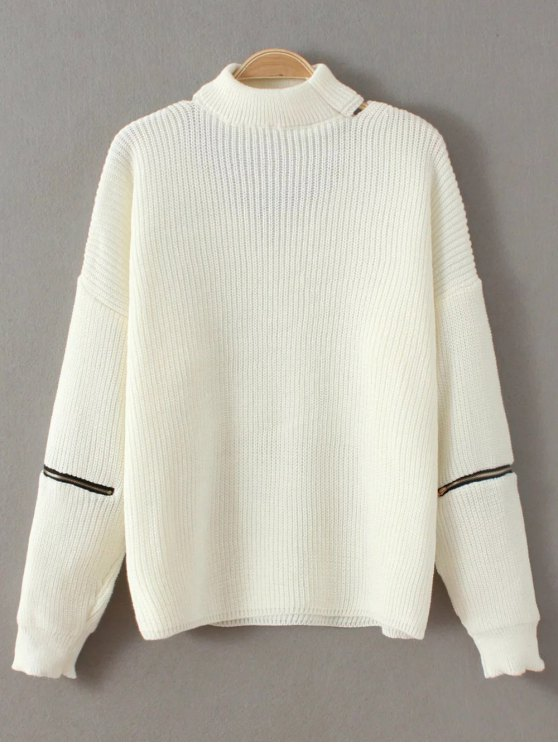 Zip Sleeve Choker Neck Sweater - WHITE ONE SIZE Mobile