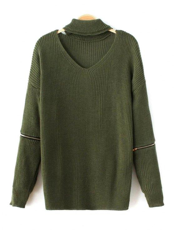 Pull-over avec col style tour de cou à manches longues orné de zips - Vert TAILLE MOYENNE