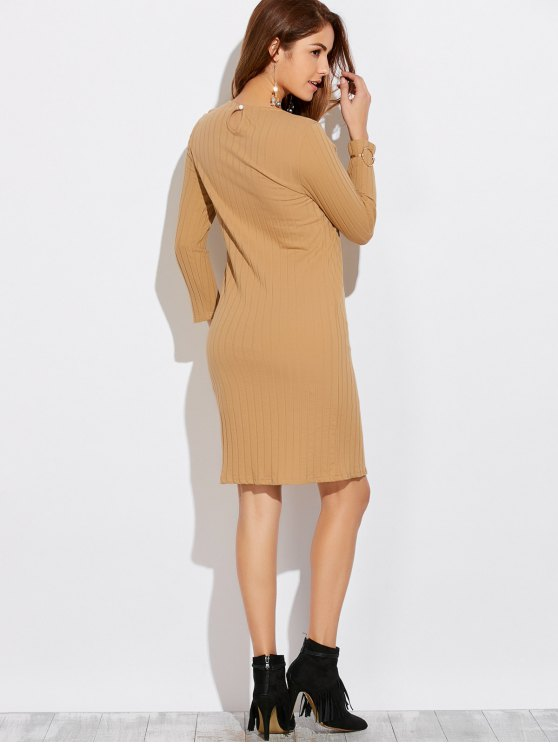 High Furcal Long Sleeve Dress - KHAKI S Mobile