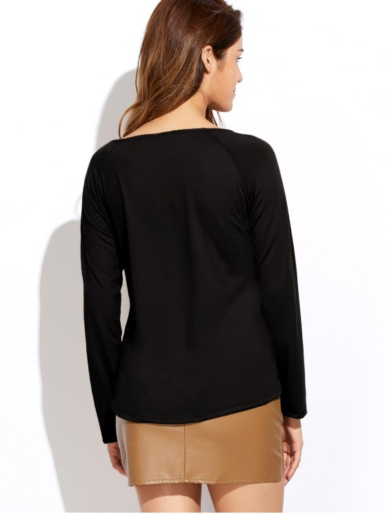 Plunging Neck Long Sleeve Crossover Top - BLACK L Mobile