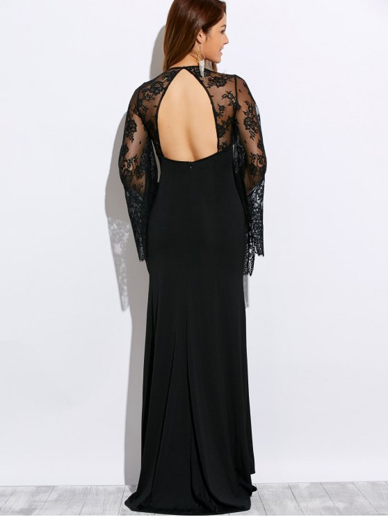 Plunge Neck Cutout Lace Panel Maxi Evening Dress - BLACK M Mobile