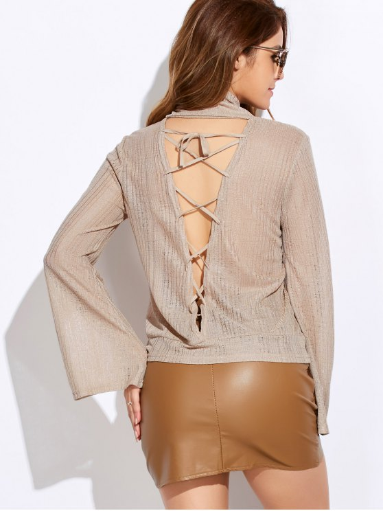 Back Cut Out Lace Up Turtle Neck Knitwear - OFF-WHITE S Mobile