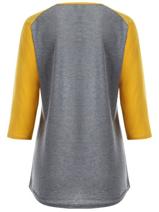 Color Block Happy T Shirt - YELLOW + GRAY S Mobile