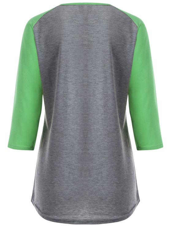 Color Block Happy T Shirt - GREY + FLUORESCENT GREEN S Mobile