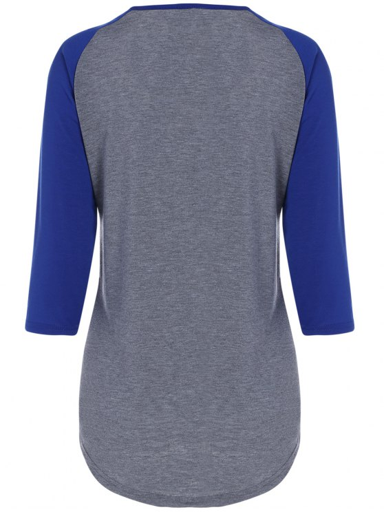 Color Block Happy T Shirt - BLUE+GRAY M Mobile