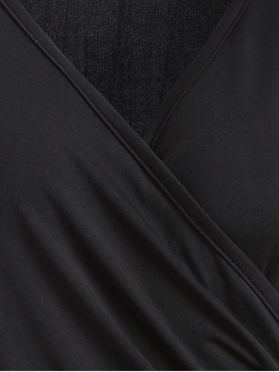 Buttons Runched Surplice T-Shirt - BLACK M Mobile