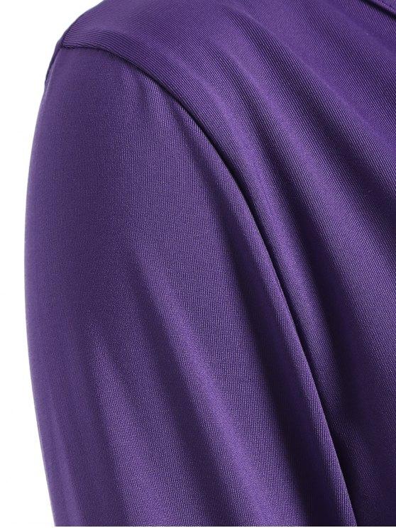 Buttons Runched Surplice T-Shirt - PURPLE M Mobile
