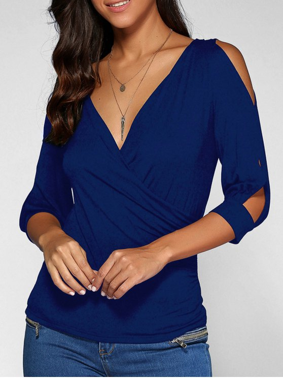 Cold Shoulder V Neck Top - DEEP BLUE S Mobile