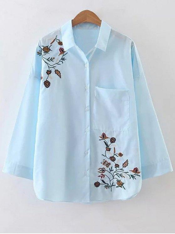 Popelina floral bordado bolsillo de la camisa - Azul claro S