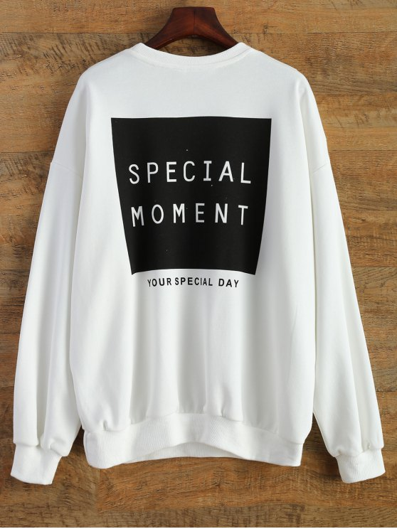 trendy Sports Letter Sweatshirt - WHITE ONE SIZE