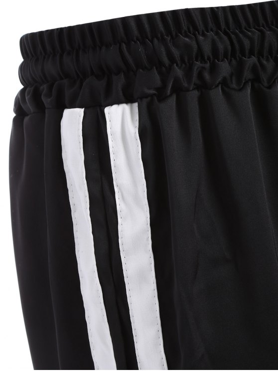 Striped Drawstring Gym Pants - BLACK L Mobile
