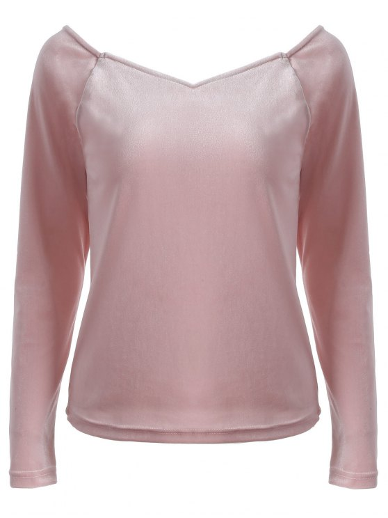 V Neck Slimming T-Shirt - PINK 2XL Mobile