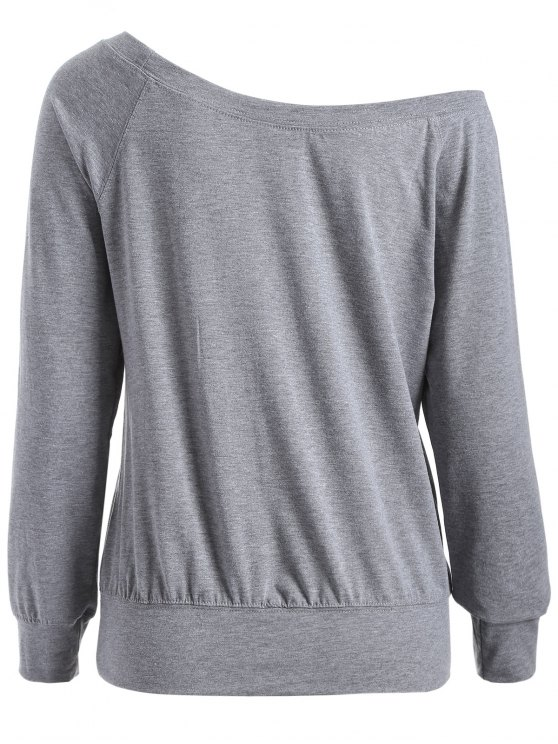 One Shoulder Letter Sweatshirt - GRAY S Mobile