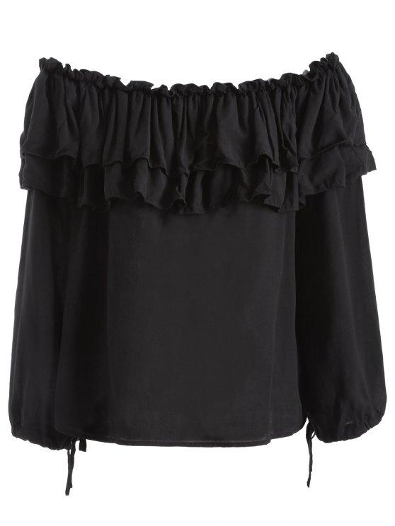Flounce Ruffles Off The Shoulder Blouse - BLACK XL Mobile