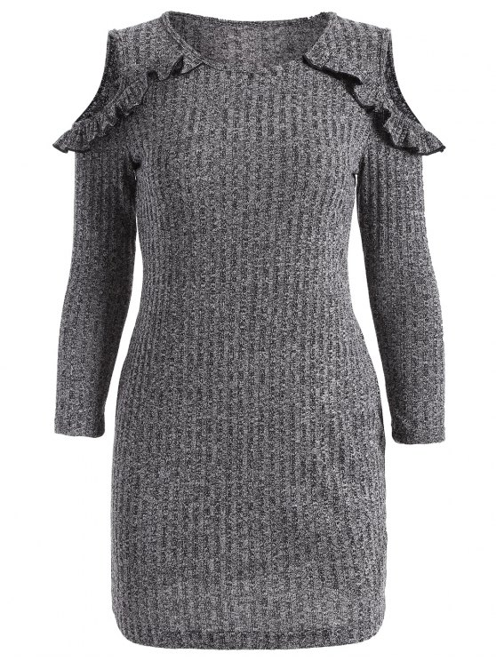 Cold Shoulder Bodycon Sweater Dress - GRAY M Mobile