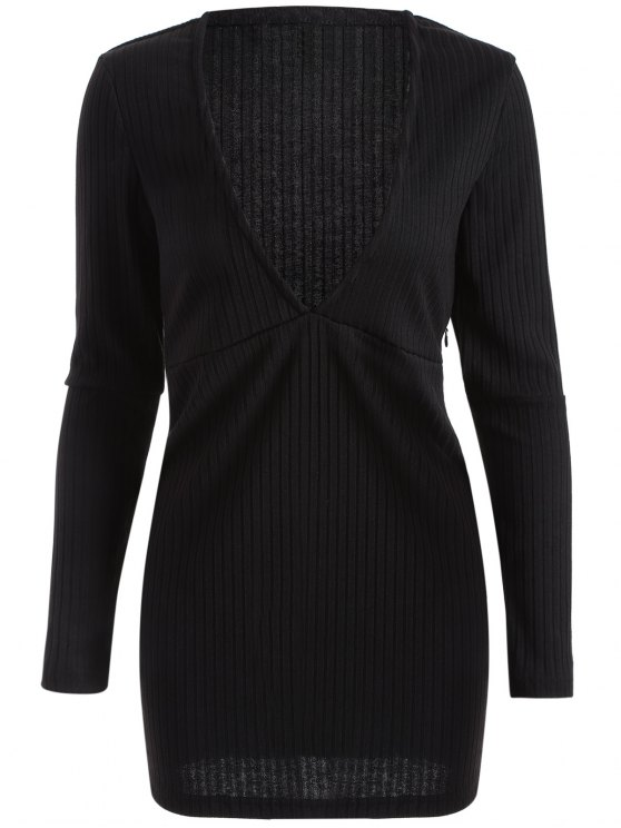 Long Sleeve Bodycon Plunge Dress - BLACK L Mobile