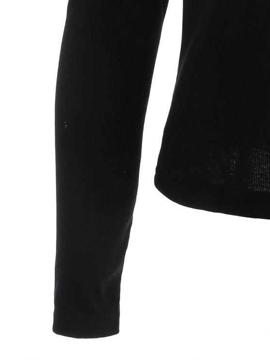 Cold Shoulder Twist Halter Tee - BLACK S Mobile