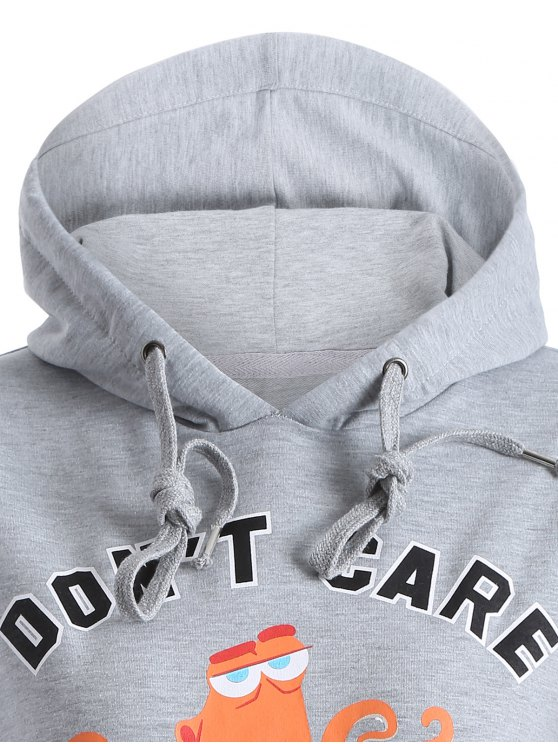 Front Pocket Drawstring Cartoon Hoodie - GRAY S Mobile
